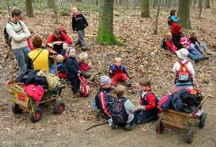 Children in a German Waldkindergarten. Photograph provided by Gregor Sticker - Waldkindergarten Duesseldorf