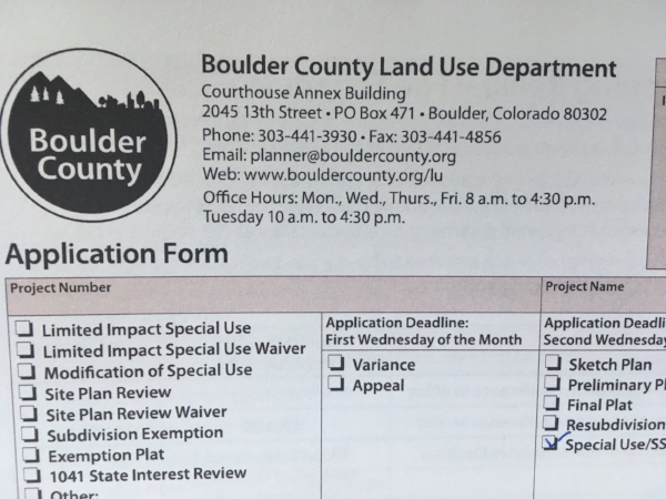 Boulder County Land Use Special Use Review Application