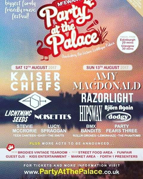 Oh my actual gee, we are playing this! Saturday the 12th August. Much excitement amongst the Aurora Blues chaps this evening. . . . . . . . #music #musicfestival #partyatthepalace #linlithgow #edinburgh #edinburghmusic #band #indie #indieband #indierock #indiemusic #kaiserchiefs #razorlight #ash