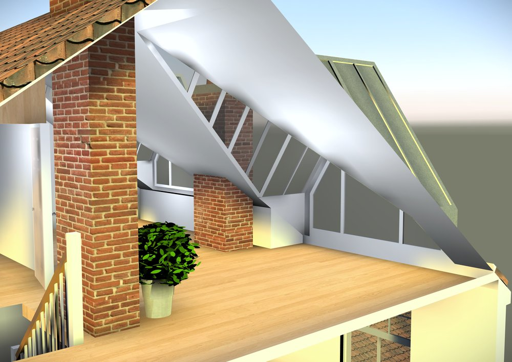 Interior view of 3D model.