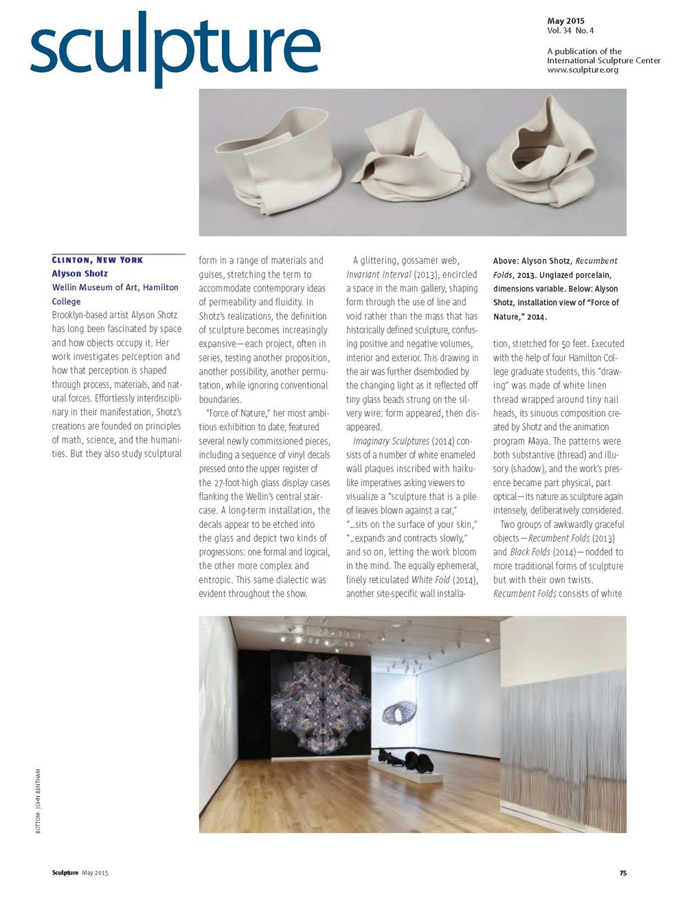 Sculpture Magazine: May, 2015