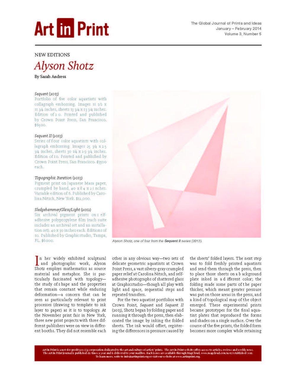 Art in Print:February, 2014