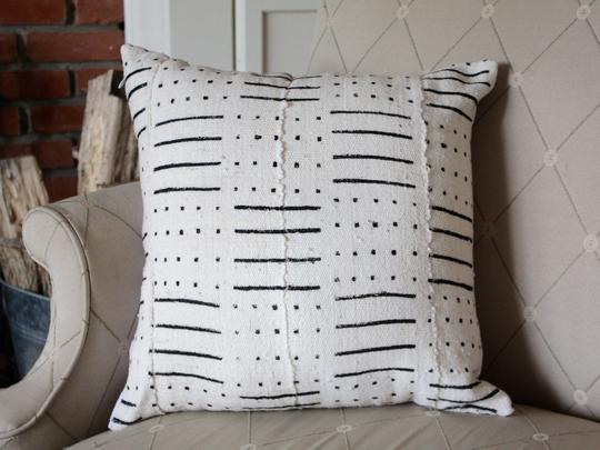 Mud Cloth Pillow - The traditional mud cloth fabric is hand-printed and made in Mali, and then the pillows are sewn together in Senegal.