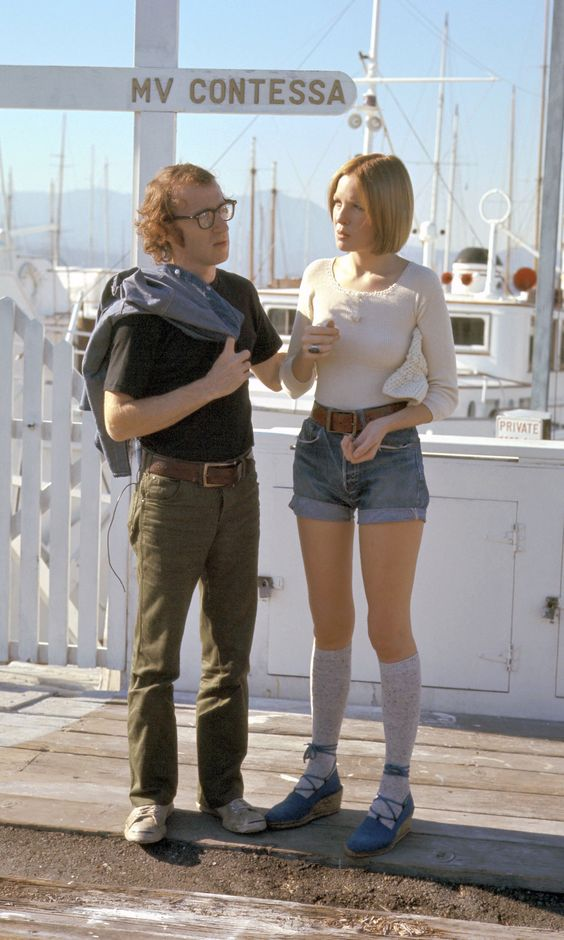 Woody Allen and Diane Keaton on set early 70s. | vouge.com