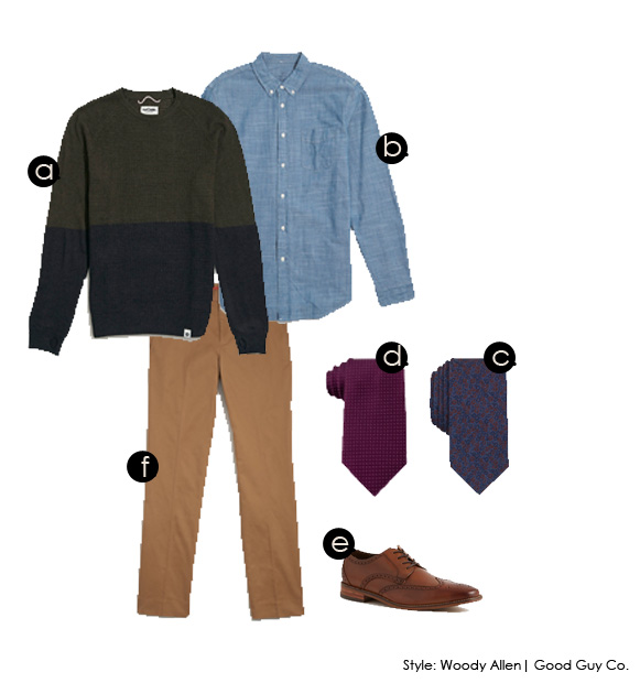 a. Buster Sweater | Our Castle b. Chambray Shirt | Jack Threads c. Floral Tie | Bar III d. Pin Dot Tie | Tommy HIfiger e. Oxford Shoe | Jack Threads f. Slim Chino | Jack Threads