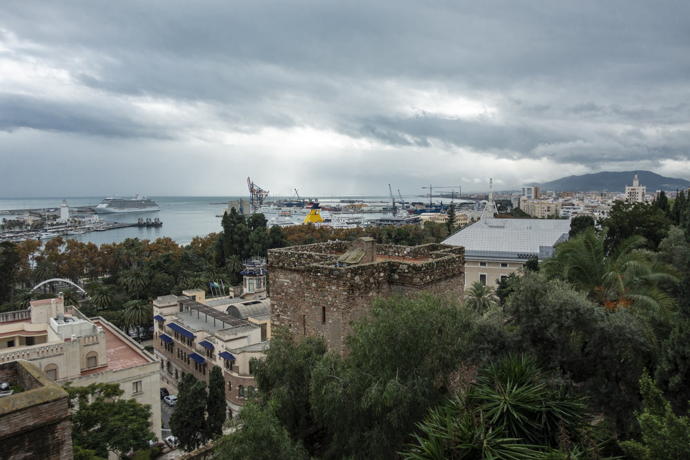 Uitzicht haven van Málaga