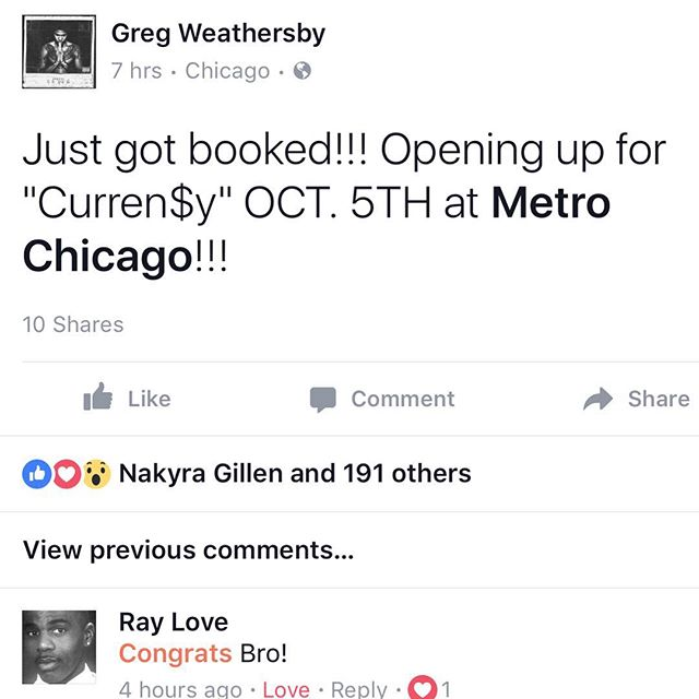 Just got booked!! Opening up for @spitta_andretti OCT 5th at @metrochicago!!! Let's Move #Millions 🙌🏽🙌🏽🙌🏽