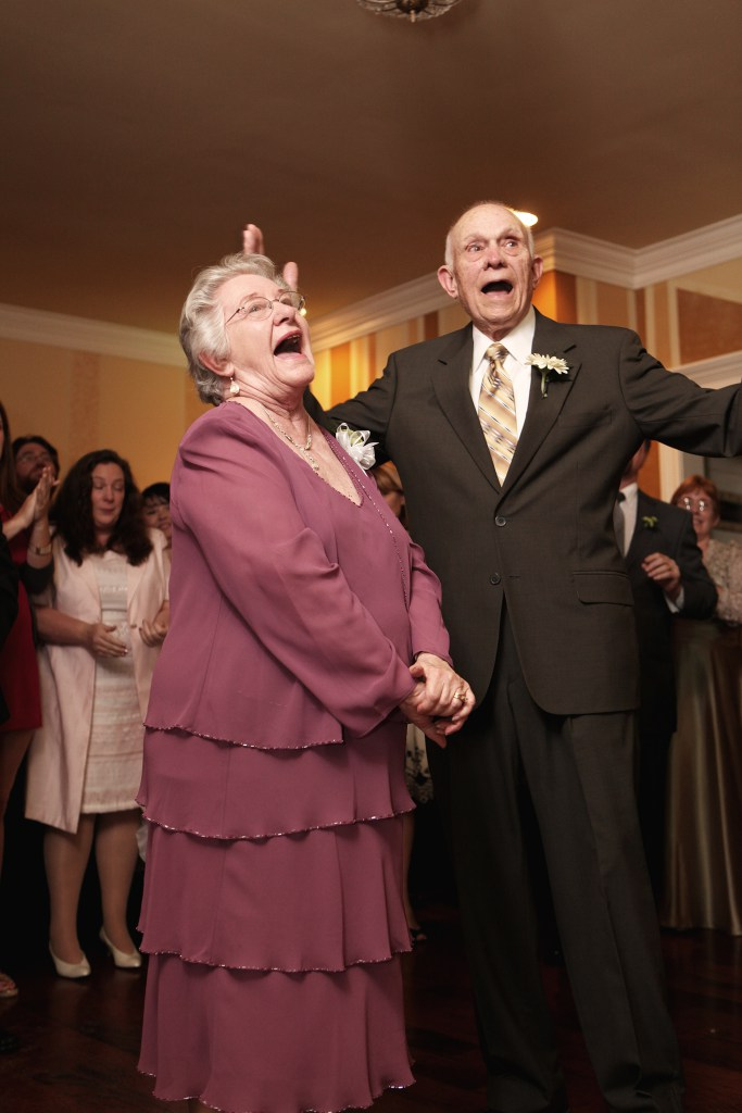 "Celebrating 60 years together at our wedding. They ""won"" the anniversary dance."