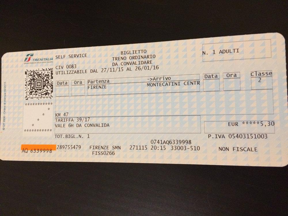 Local Italian Train Tickets from Kiosk