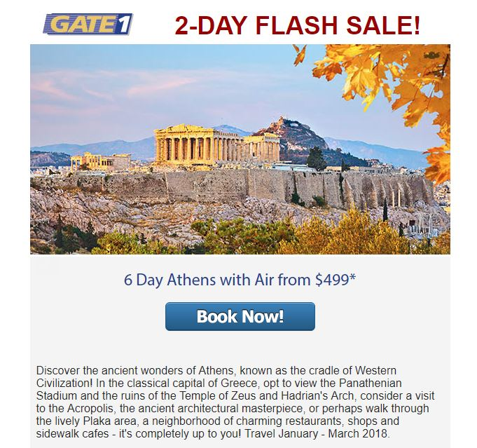 Flash Sale! Two days to book with limited travel dates. Are you prepared to jump on this deal?