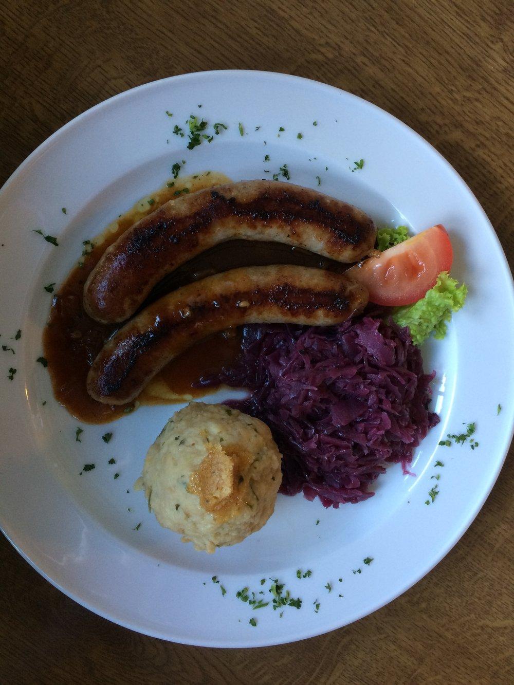 Brats & gravy, mashed potatoes, red kraut...mmmmmmm