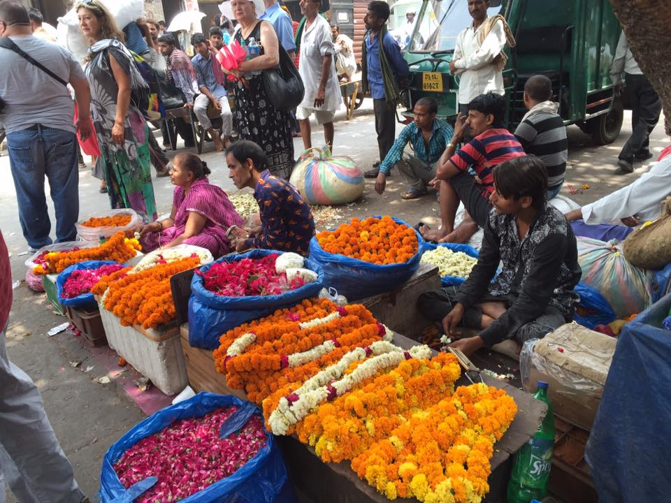 Pop up flower market in Jaipur