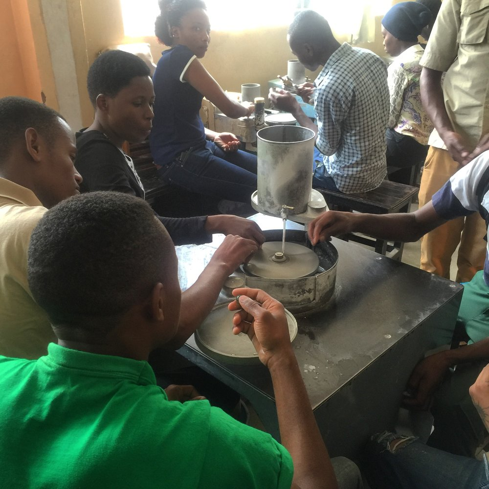 students of Arusha Gemmological and Lapidary School, Arusha, Tanzania.courtesy of Monica Stephenson of ANZA Gems