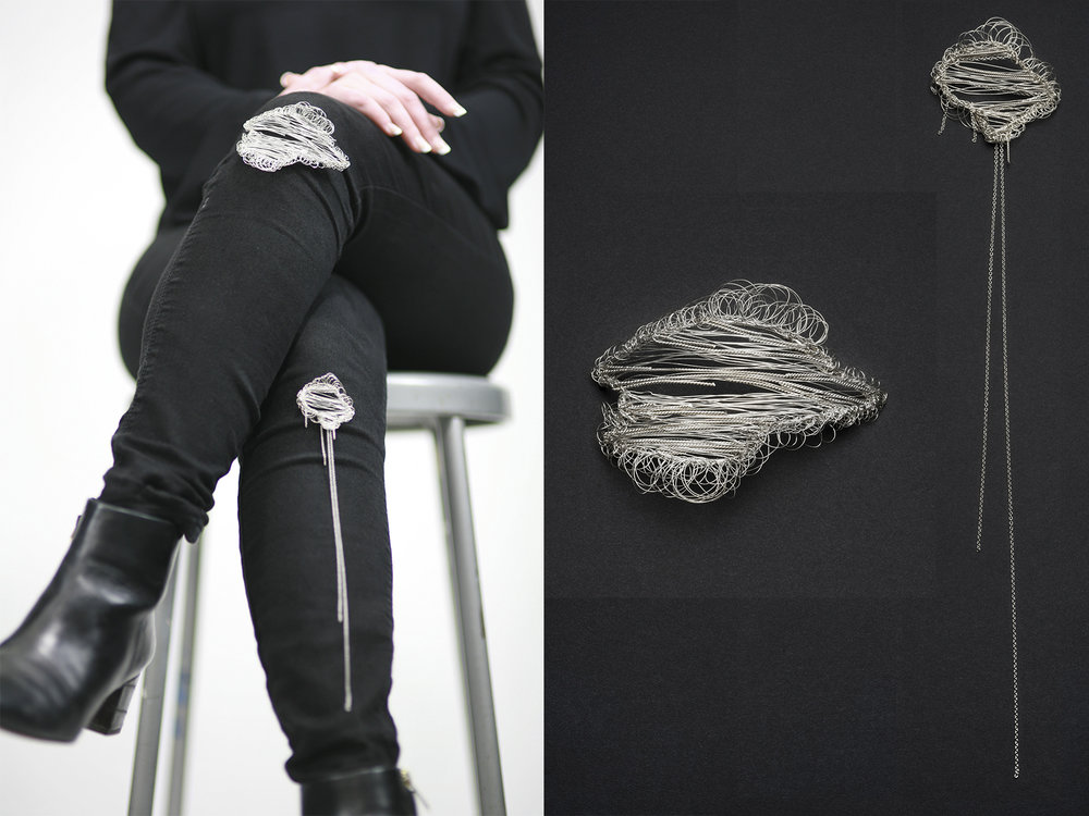 Amanda Bae | <strong><em>Distressed Denim Hole Brooches</em></strong>