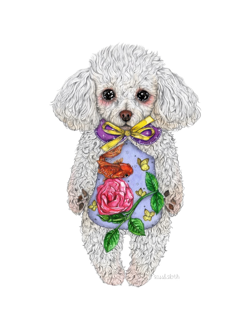 Flower and Fish - Poodle Plushie