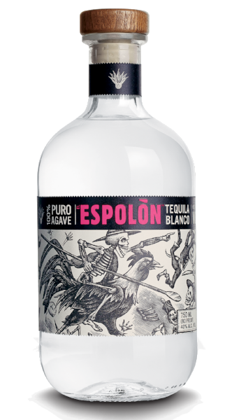 Espolòn Tequila Blanco, 100% Blue Weber Agave. Also known as silver, it's unaged and perfect for shaking.