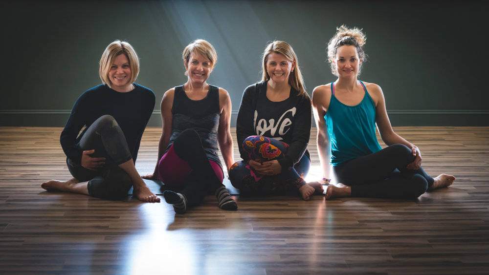When we practice together, the energy is that much greater!  Neighbors, friends, and Yoga:  From L to R Jackie Terribile, Tracey Montague, Sophie Tashkovski, Annie Taylor.