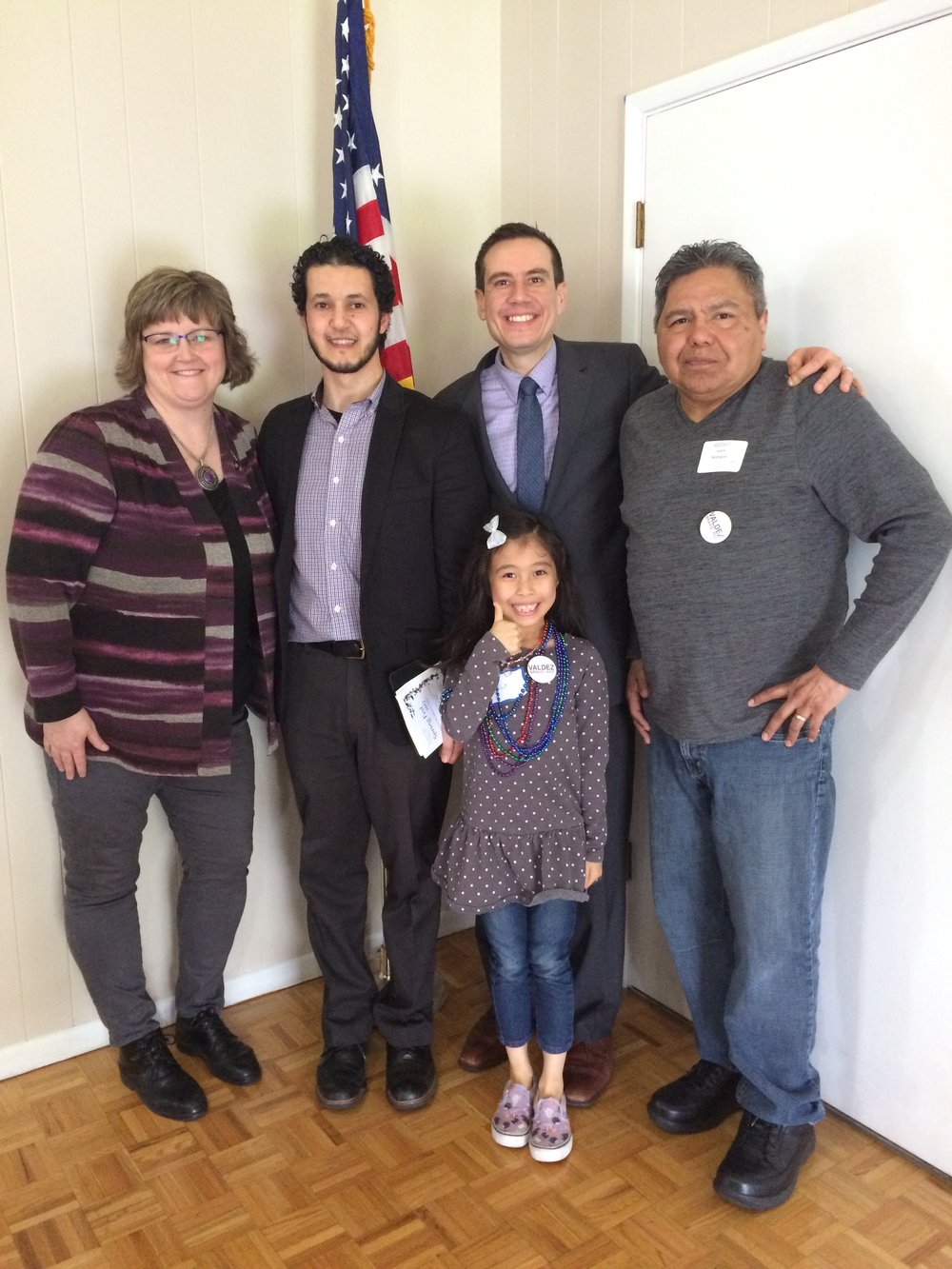 State Representative Janeen Sollman (HD 30), PCC Zone 6 Board Director Mohamed Alajyouri, Jaime Rodriguez (PCCFFAP VP of Political Action) and my daughter, Alani.