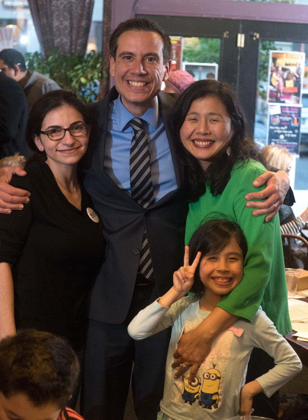 Valdez, his wife Marie, daughter Alani, and campaign manager Robyn Gottlieb on Election Night