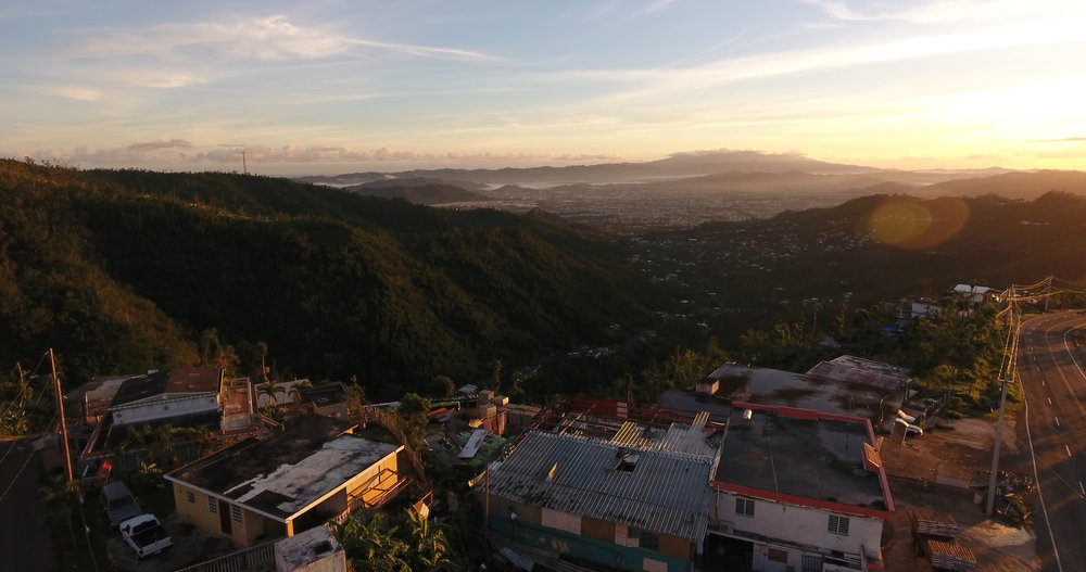 "Overlooking the valley of Caguas, a municipality known as, ""the heart of Puerto Rico,"" at sunrise. Drone photography by Gabriella Parsons, December 2017."