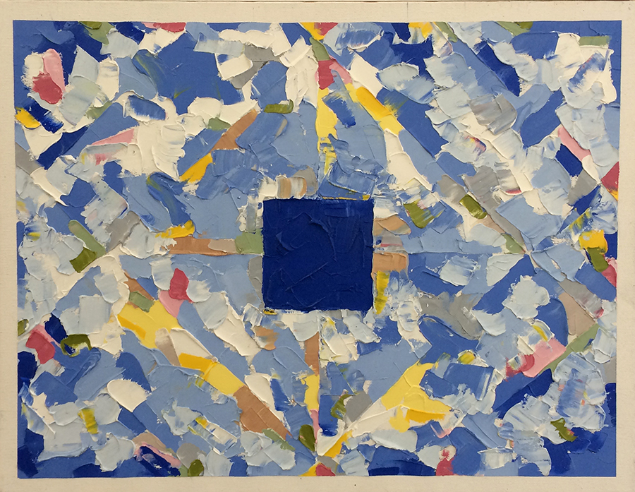 Painting with Blue Square (1995) Oil on Canvas 18 x 14
