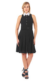 Product ID : CL0052843 Product Name : Contrast collar chiffon shirtdress