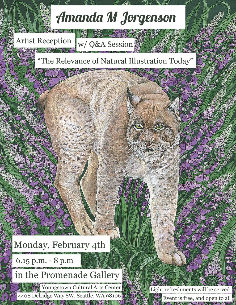 - Join me on Monday, February 4th at 6:15 p.m. to view my art, and join me and other illustrators in discussing the relevance of Natural Science Illustration in the age of photography and technology. Light refreshments will be served. The event is free and open to the public.