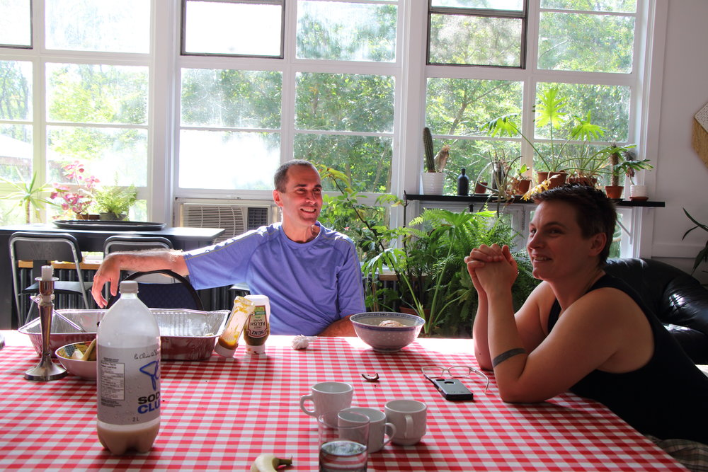 John Greyson and Ailsa Craig at the Artscape Gibraltar Point community kitchen table, 2015