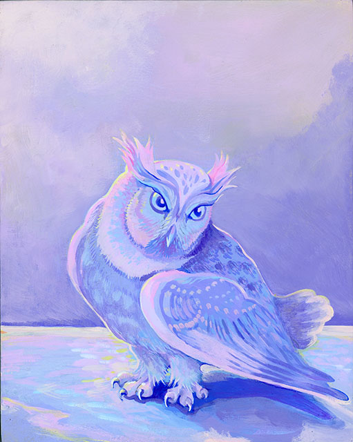 "Owl in Winter  (Acrylic gouache on wood panel, 10x8"" wood panel ©Kristin Richland)"