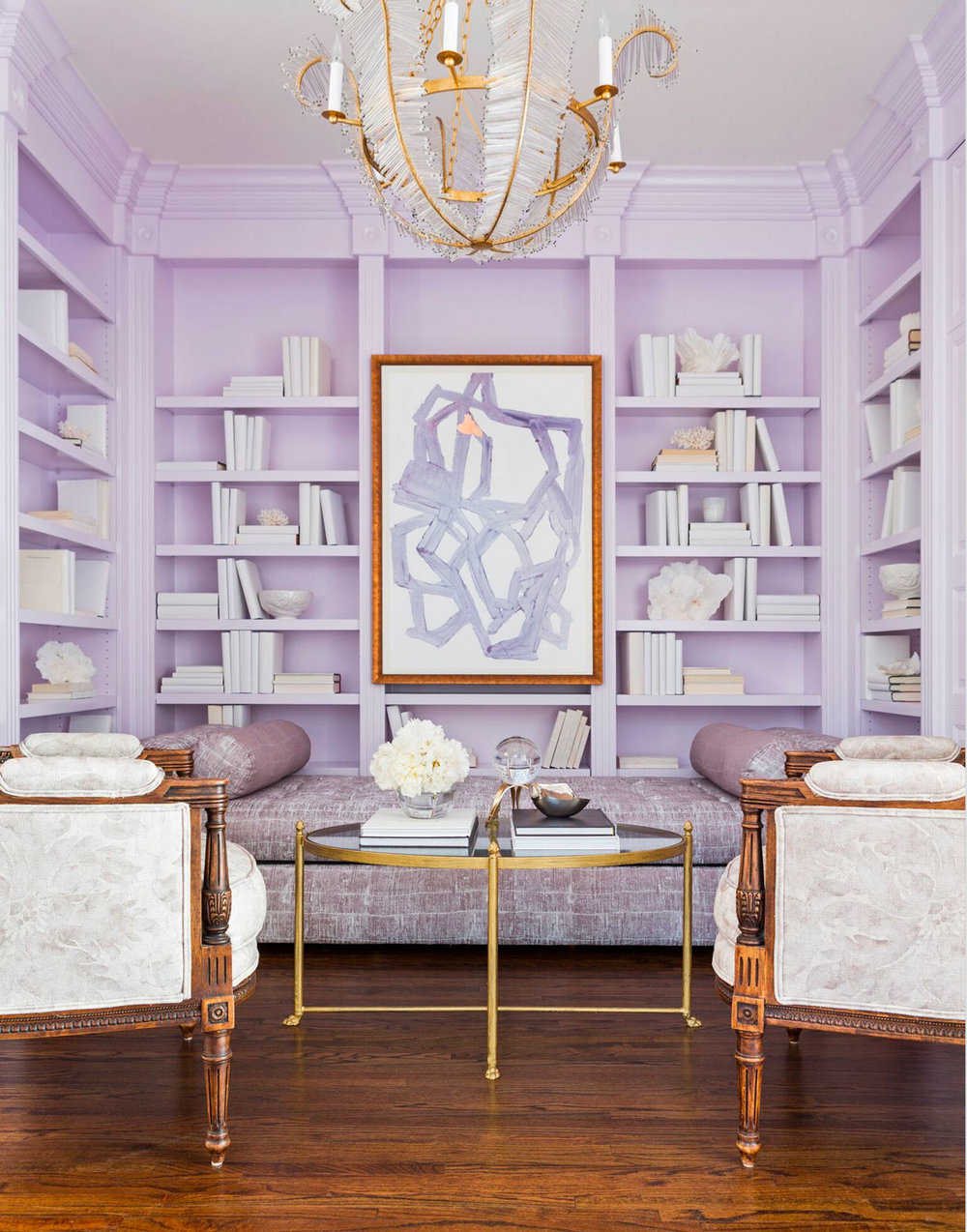 Molly Ray Young Interior Design Little Rock Arkansas Lavender Home Library  Rett Peek