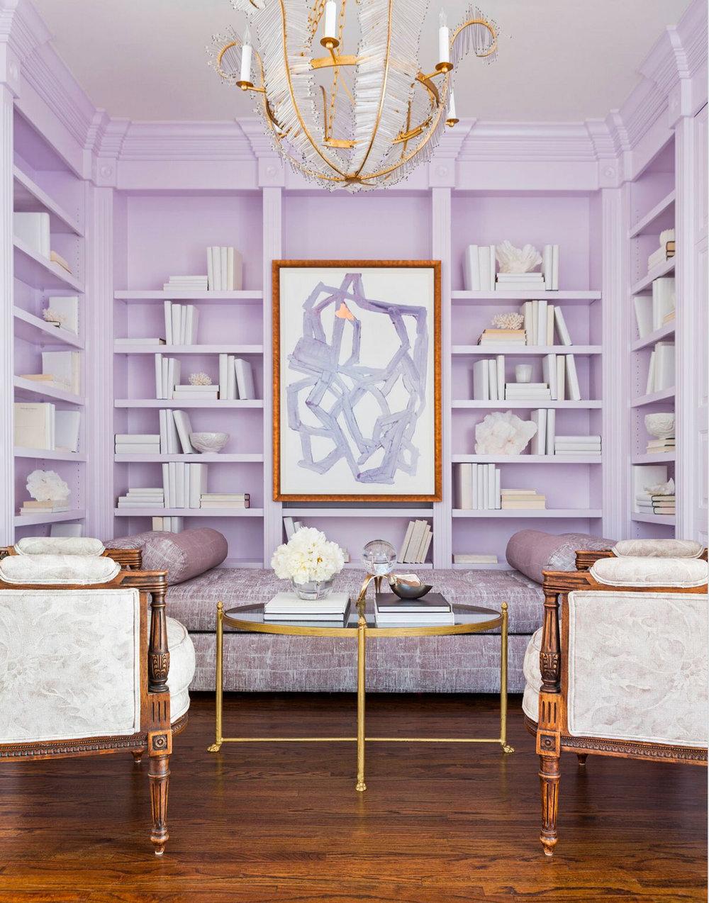 Molly Ray Young Interior Design Little Rock Arkansas Lavender Home Library  Rett Peek