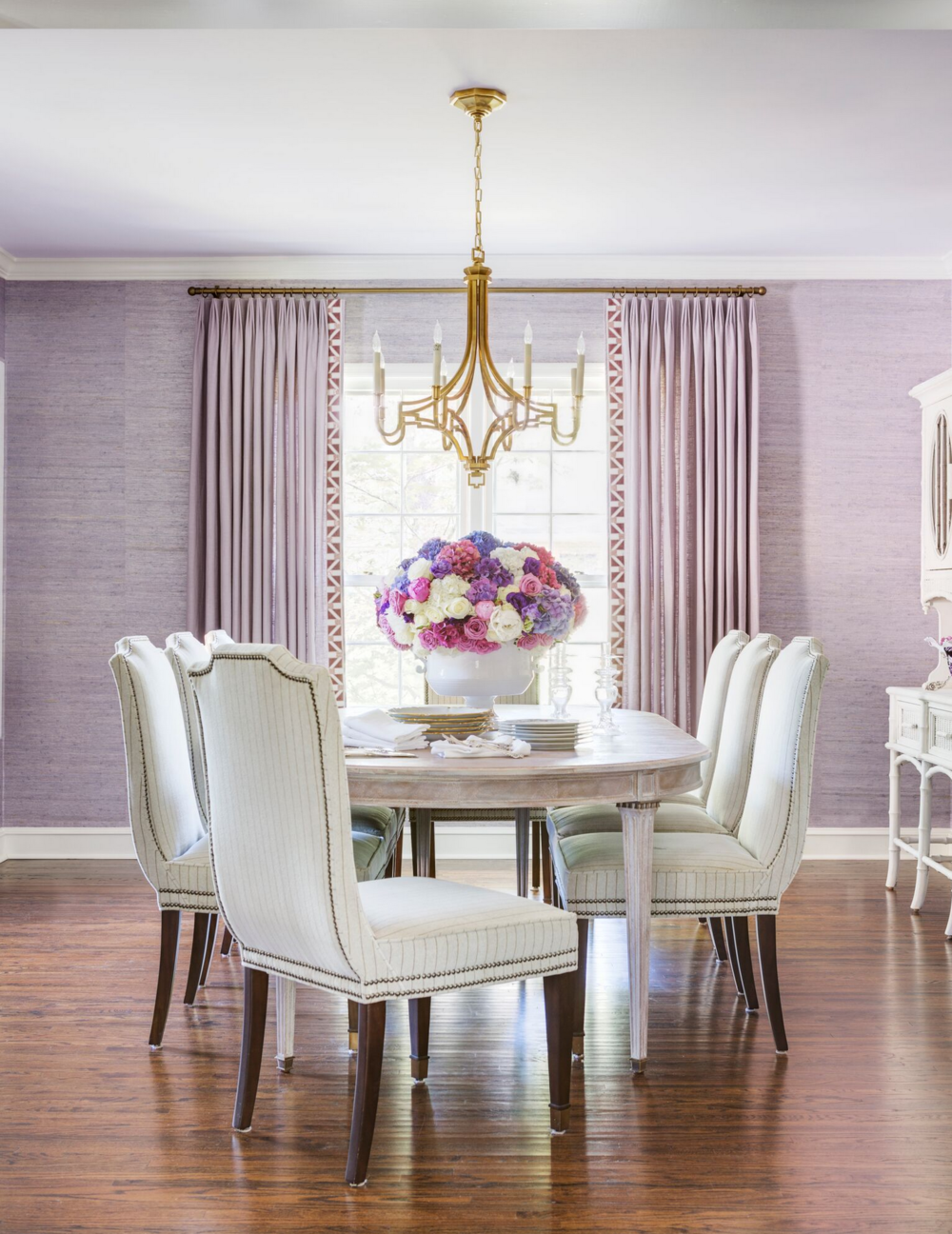 Beautiful Molly Ray Young Interior Design Little Rock Arkansas Dining Room Purple  Textured Wallpaper Rett Peek.