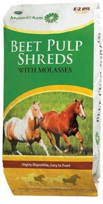 We feed beet pulp without molasses during the winter because the horses don't need the extra energy provided by that sugar