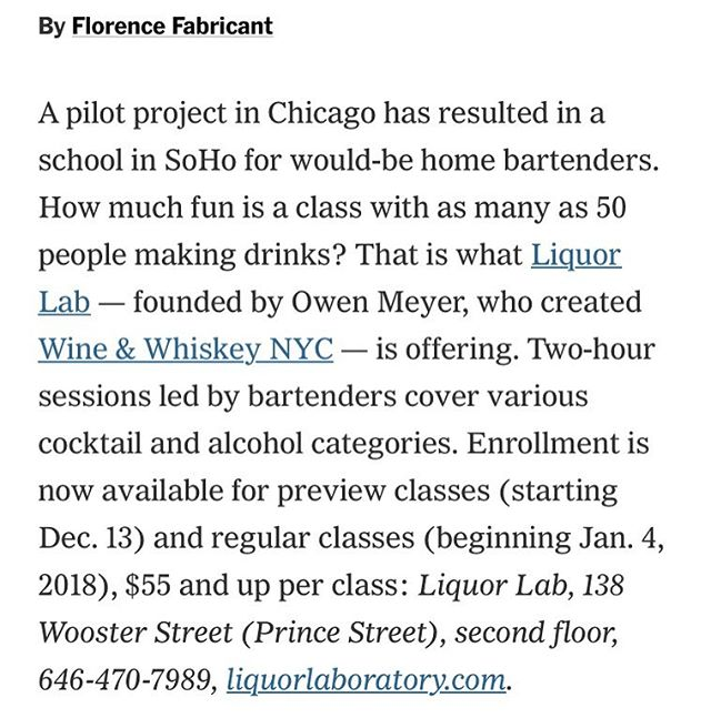 Our sister company @liquorlab was featured in the @nytfood @nytfood. And they mentioned @wineandwhiskeynyc too!