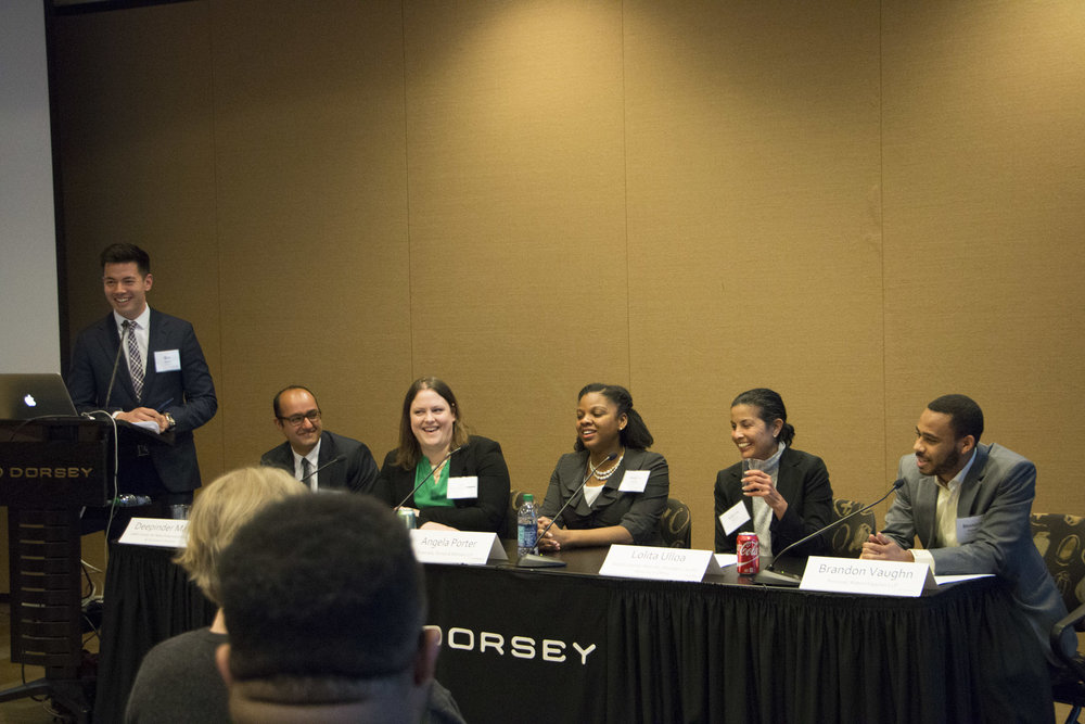 Haller Kwan LLP Managing Partner Ben Kwan moderates a March 2017 panel for Twin Cities law students at the Affinity Bar Law Student Job Symposium. We walk the walk by staying involved in the community to promote issues like diversity and inclusion.