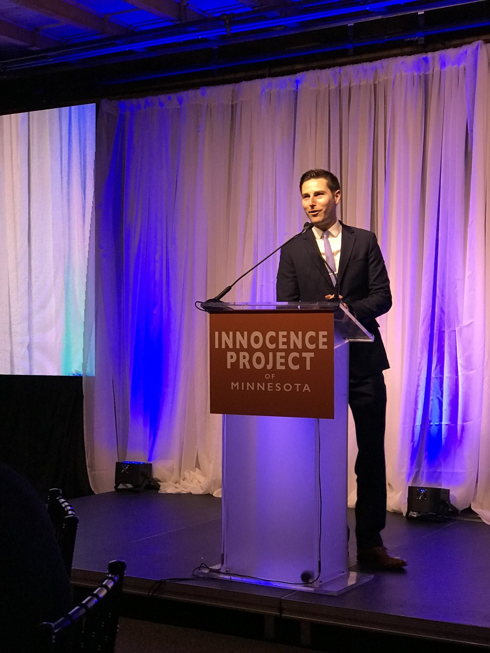 Ted Haller speaks at the Benefit for Innocence