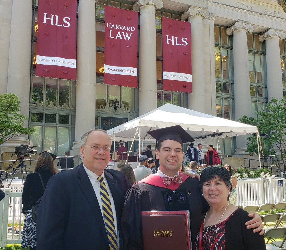 Photograph:  The Snyder family together at son Tom's Harvard Law School graduation.