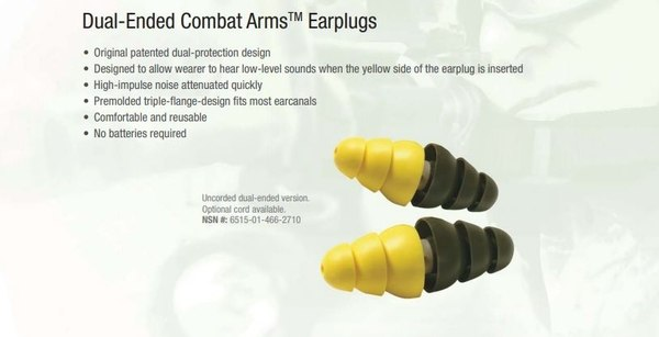 Dual-ended CAE earplugs sold by 3M. (From 3M Company, as published in 7-26-18 edition of  Military Times )