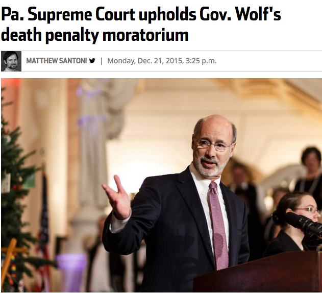 "The Pennsylvania Supreme Court on Monday upheld Gov. Tom Wolf's constitutional authority to grant temporary reprieves to inmates on death row.  The case involved Terrance Williams, convicted of beating a man to death with a tire iron in 1984. With Williams' appeals exhausted, former Gov. Tom Corbett had scheduled execution for March 4. Wolf granted a reprieve Feb. 13, pending an overdue report and recommendations from the Pennsylvania Task Force and Advisory Committee on Capital Punishment.  Wolf said he would use his constitutional power to grant reprieves to any inmate awaiting the death penalty, effectively putting a hold on all executions until the task force report addresses his concerns that Pennsylvania's capital punishment is too expensive and ineffective. He since has reprieved five convicted killers scheduled for execution.  As of Dec. 1, there were 181 inmates on death row in Pennsylvania, including 24 from Pittsburgh and 11 surrounding counties, according to the state Department of Corrections.  Philadelphia District Attorney Seth Williams challenged the governor's decision, saying Wolf overstepped his constitutional authority if he intended to halt all executions with reprieves.  The state Supreme Court unanimously sided with Wolf, saying that his reprieves do not need a set end date or to be related to a prisoner's specific circumstances.  ""We find no limitation on the executive reprieve power relating to the duration of the reprieve, so long as it is temporary in nature and operates only for an interval of time,"" wrote Justice Max Baer of Mt. Lebanon.  Justice Correale F. Stevens wrote in a concurrent opinion that the decision should not encourage or validate the governor's nullification of existing, valid state laws. Stevens urged that the governor's reprieves be temporary, instead of indefinitely drawing out cases in which courts have upheld the penalty against a prisoner.  ""The families of the victims are victimized again and again, this time by the failure of the criminal justice system to carry out the law,"" Stevens wrote. ""If there is to be no death penalty law in Pennsylvania, such decision should come from the legislative body.""    http://triblive.com/news/adminpage/9672521-74/wolf-pennsylvania-court"