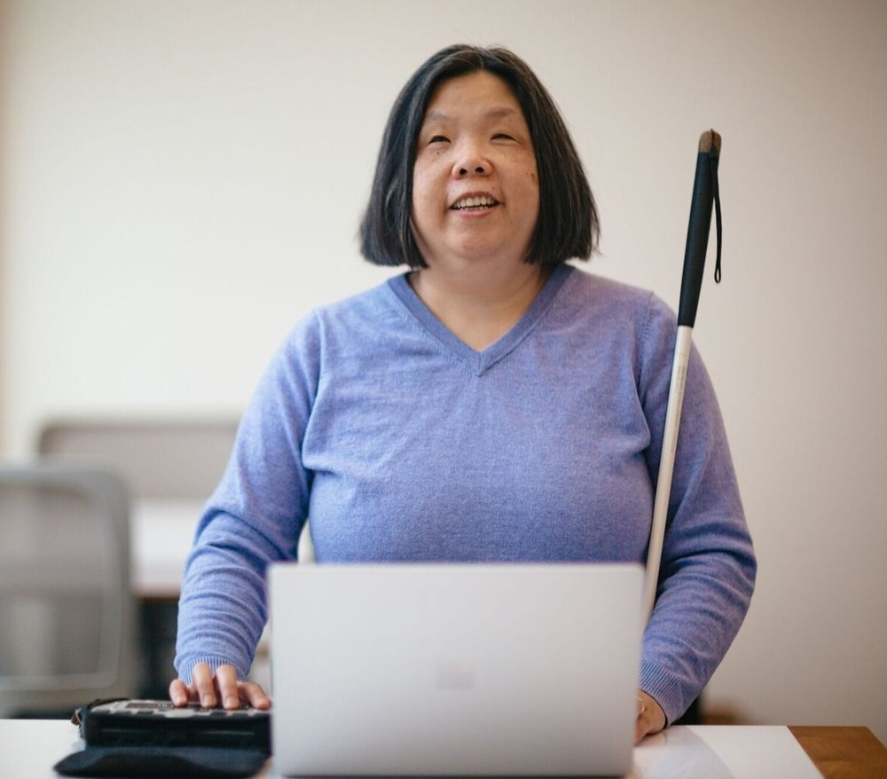Anne Taylor works on the Microsoft Accessibility team, which strives to make products and services accessible for all customers.