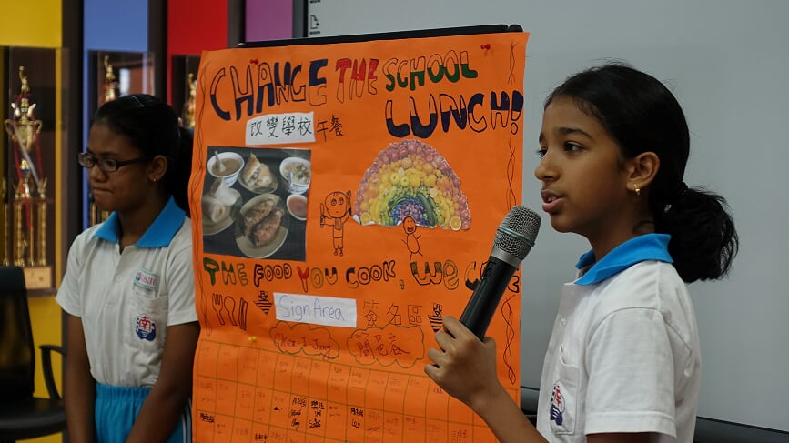 - Taipei students present a poster with 129 signatures to the school lunch vendor