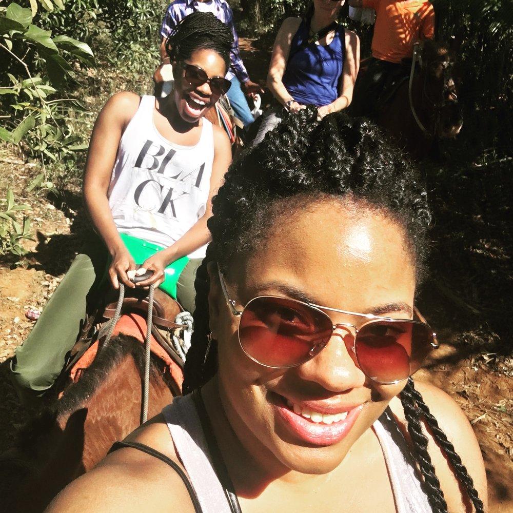 No texting, just horseback riding.