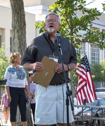 Russ Records addresses a crowd at a Las Cruces park on the critical need to preserve Obamacare. He also organized public meetings to address health care. -