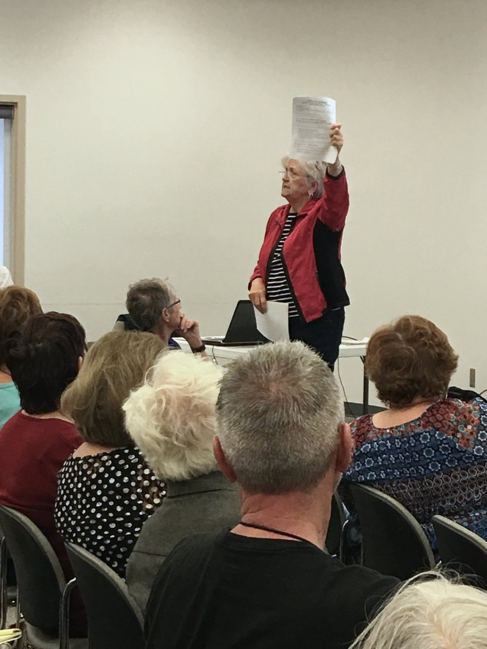Retired public school teacher Sandy Daniel demonstrates her instructional skills as she outlines the week's Call to Action plan. -