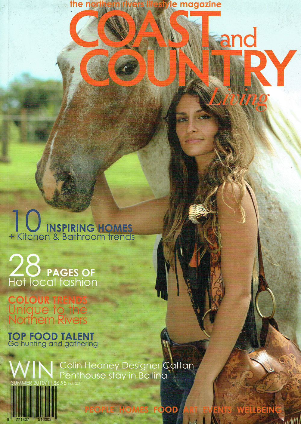 Buffalo Girl featured on the cover of Coast and Country Living magazine.