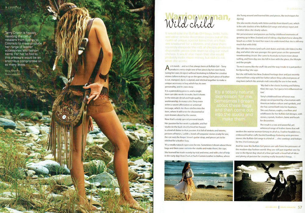 Sample Magazine article about Terry Cronin, the Buffalo Girl Designer.
