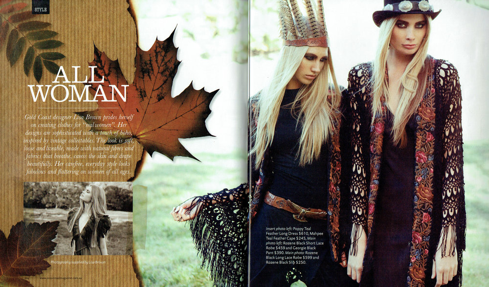 Buffalo Girl accessories feature along designer Lisa Brown's winter collection in the Ocean Road Magazine.