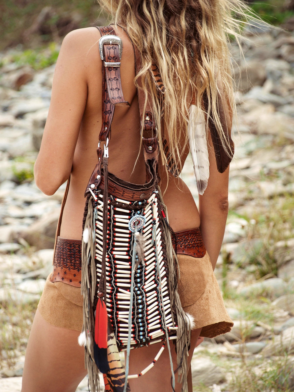 Buffalo Girl Icon: Our beaded Warrior Bag designed and handcrafted by Terry Cronin.   Model:  Romina Gardella