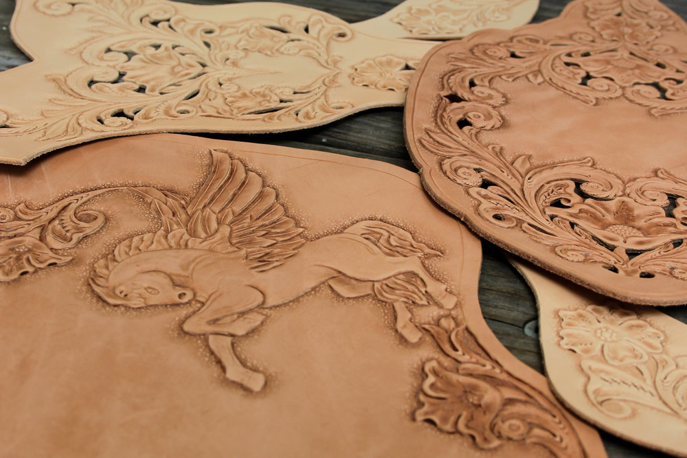 hand carved leather pegasus
