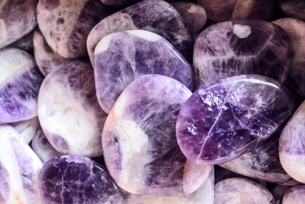 Chevron Amethyst. These beautiful stones, with the distinctive white lines, come from Russia.